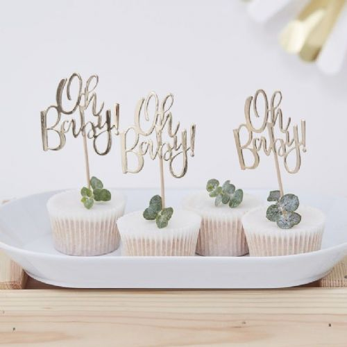 'Oh Baby!' Gold Foil Cupcake Toppers - 13.5cm (12pk)